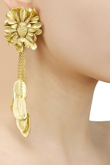 Gold Finish Textured Flower Earrings by Firdaus By Akshita