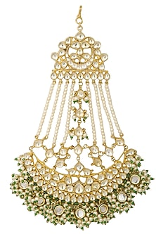Gold Finish Kundan Studded Crescent Passa by Firdaus By Akshita
