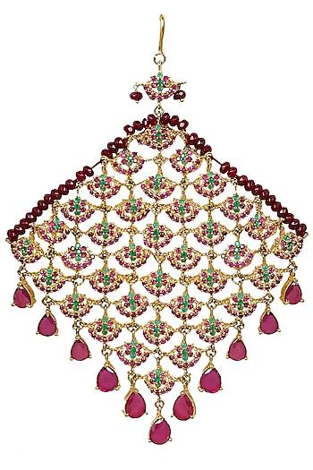 Gold Finish Semi Precious Stones Studded Passa by Firdaus By Akshita