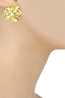 Matte Gold Finish Flower Studs by Firdaus By Akshita