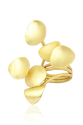 Matte Gold Finish 3D Flower Ring by Firdaus By Akshita