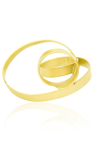 Matte Gold Finish Abstract Statement Ring by Firdaus By Akshita