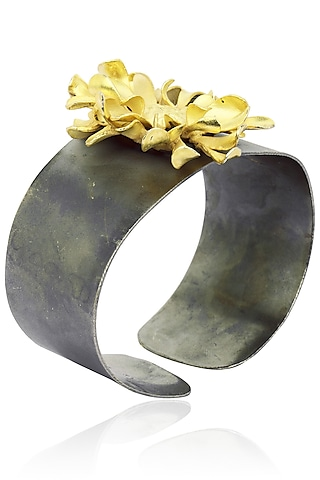 Gunmetal Finish Flower Cuff by Firdaus By Akshita
