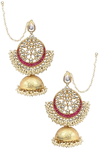 Gold Finish Kundan and Pearl Earrings by Firdaus By Akshita