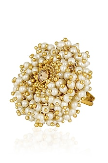 Gold Finish Baraque Pearls Ring by Firdaus By Akshita