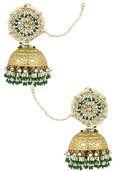 Gold Finish Green Beads and White Pearls Jhumki Earrings by Firdaus By Akshita