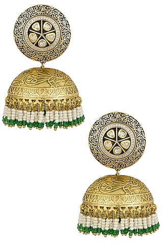 Antique Gold Finish Zircon and Pearl Bunches Jhumki Drop Earrings by Firdaus By Akshita