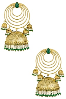 Gold Finish Five Pearls Jhumki Drop Layered Earrings by Firdaus By Akshita