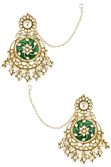 Gold Finish Green Enamelled and White Stones Chandbali Earrings by Firdaus By Akshita
