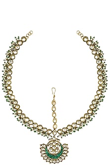 Gold Finish Kundan and Green Glass Stones Matha Patti by Firdaus By Akshita