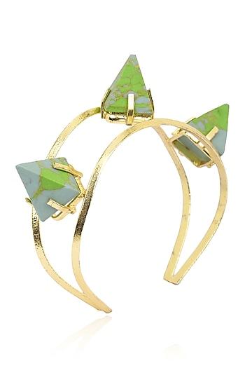 Gold Finish Malachite Stones Bracelet by Firdaus By Akshita