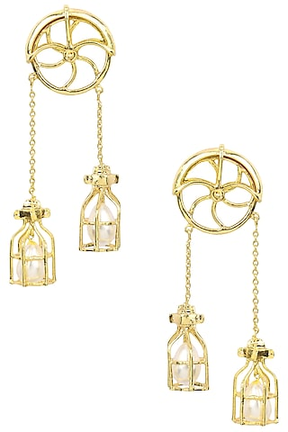 Gold Finish Pearl Caged Wheel Earrings by Firdaus By Akshita