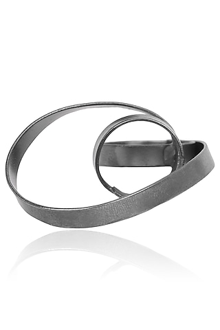 Gunmetal Finish Abstract Statement Ring by Firdaus By Akshita