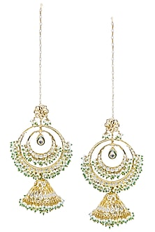 Gold Finish Glass Stone Double Crescent Earrings by Firdaus by Akshita