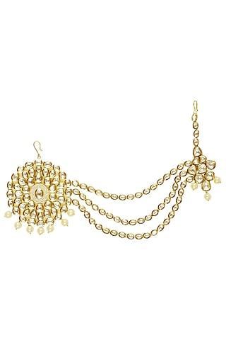 Gold Finish Kundan Studded Matha Patti by Firdaus by Akshita