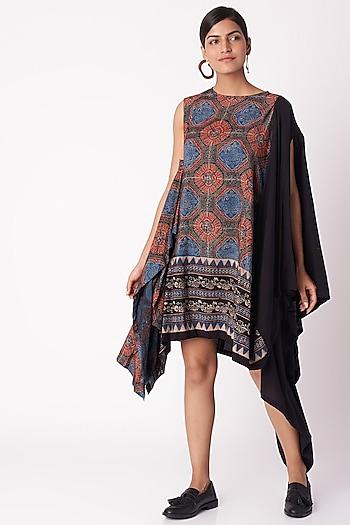 Black Floral Ajrak Print Dress by Fahd Khatri