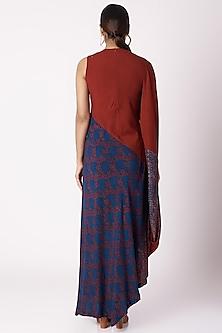 Cobalt Blue Floral Ajrak Print Dress by Fahd Khatri