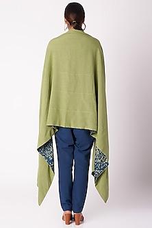 Olive Green Floral Ajrak Print Jacket by Fahd Khatri