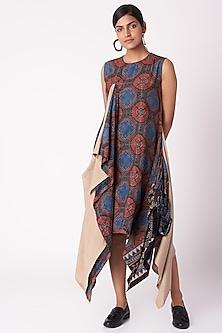 Black Ajrak Print Dress by Fahd Khatri