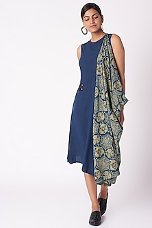Cobalt Blue Printed Dress by Fahd Khatri