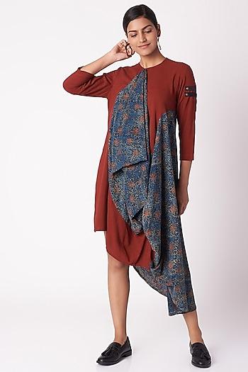 Red Ajrak Print Dress by Fahd Khatri