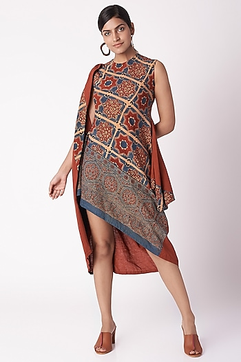 Red Floral Ajrak Print Dress by Fahd Khatri