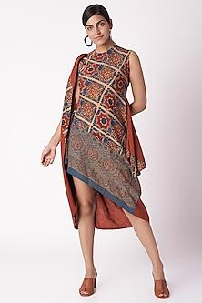 Red Floral Ajrak Print Dress by Fahd Khatri