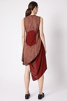 Red Ajrakh Printeded Cotton Dress by Fahd Khatri