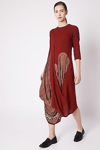 Red Ajrakh Printed Dress by Fahd Khatri