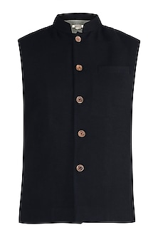 Black twill nehru jacket by Fahd Khatri