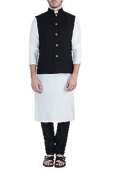 Black twill nehru jacket by Fahd Khatri Men