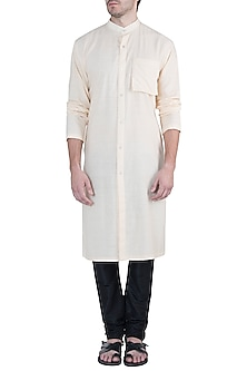 Cream open front kurta by Fahd Khatri