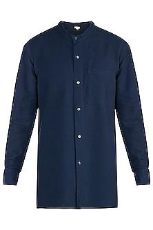 Navy blue handloom shirt by Fahd Khatri Men