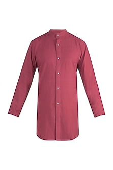 Rust red long shirt by Fahd Khatri Men