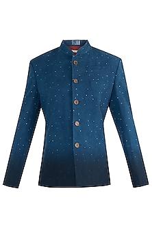 Indigo 2 tone jodhpuri jacket by Fahd Khatri Men
