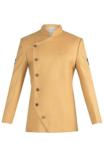 Mustard twill jodhpuri jacket by Fahd Khatri Men