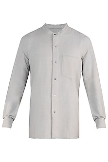 Grey hand loom shirt by Fahd Khatri