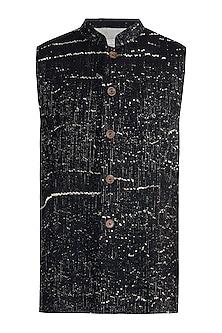 Black rib woven nehru jacket by Fahd Khatri Men