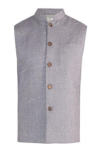 Grey rib woven nehru jacket by Fahd Khatri