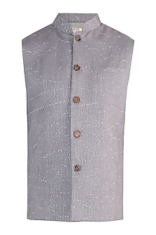 Grey rib woven nehru jacket by Fahd Khatri Men
