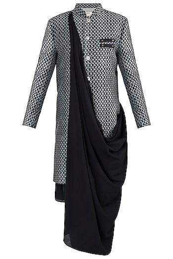 Black cotton sherwani jacket by Fahd Khatri