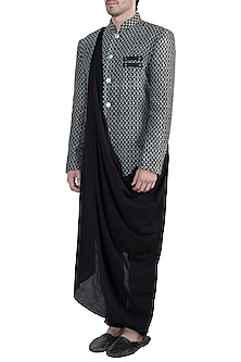 Black cotton sherwani jacket by Fahd Khatri