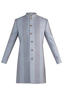 Grey sherwani jacket by Fahd Khatri Men