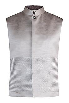 Silver nehru jacket by Fahd Khatri Men