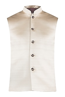 Pale gold nehru jacket by Fahd Khatri Men