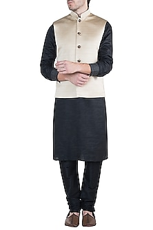 Pale gold nehru jacket by Fahd Khatri