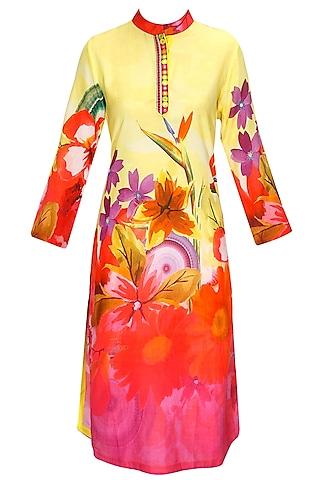 Yellow Embroidered Floral Print Kurta Set by Flamingo by Shubhani Talwar