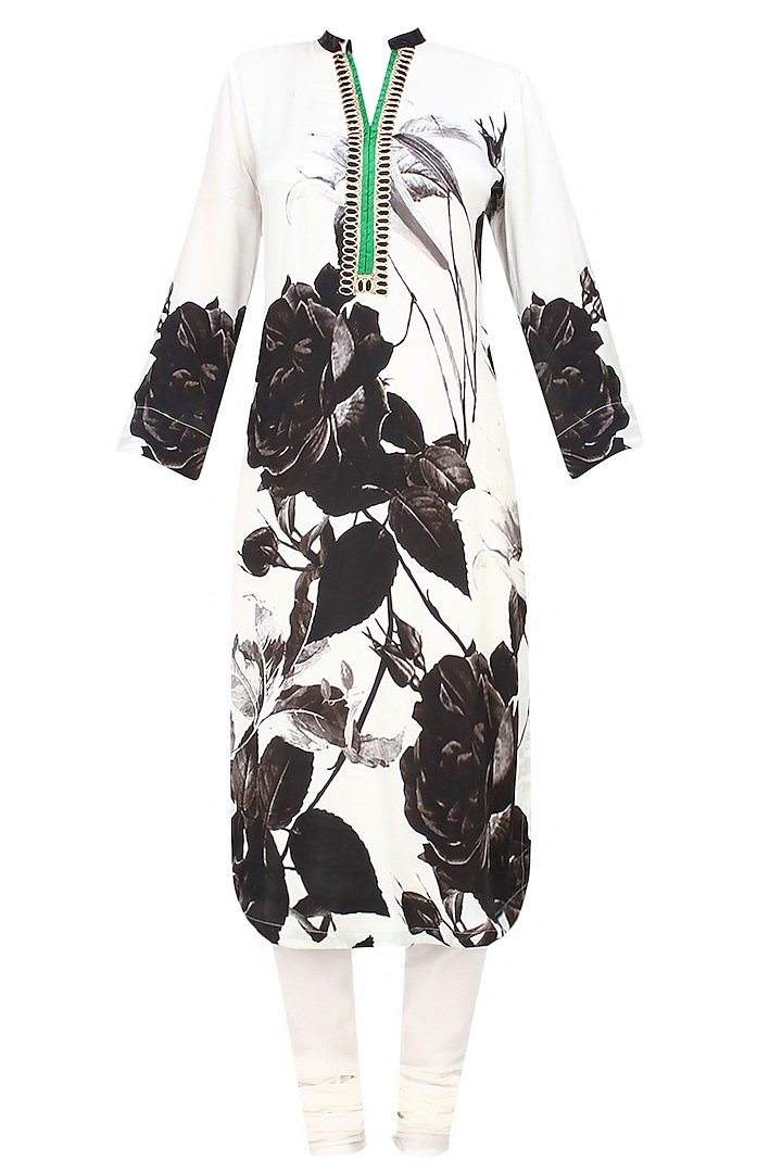 Off white and black floral printed kurta with dupatta by Flamingo By Shubhani Talwar