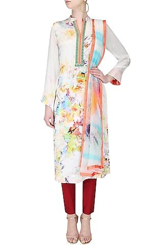 Multicolour abstract printed kurta with dupatta by Flamingo By Shubhani Talwar