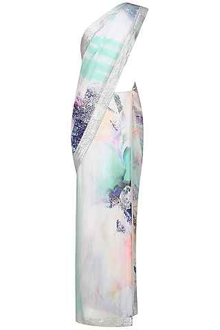 Off white and blue printed saree with unstitched blouse  by Flamingo By Shubhani Talwar